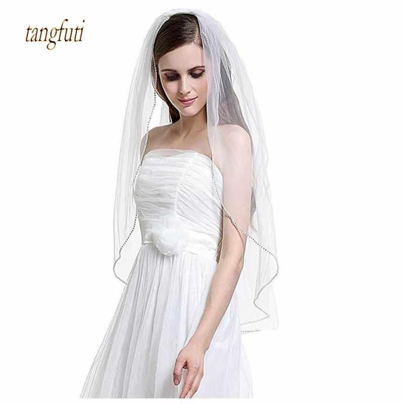 חרוזים טול חתונת רעלות קצה עם מסרק שכבה אחת טול לבן שנהב כלה רעלה אביזרי חתונה כלה קצרה פשוט