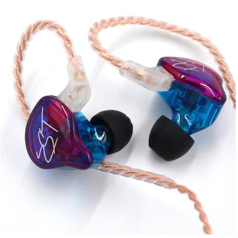 Kz zst armadura dupla driver fone de ouvido destacável cabo cancelamento ruído esporte fone com microfone para kz zs4 as10 c10 trn