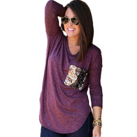 Women Fashion Top Blouse Sequins O Neck Long Sleeve Loose Casual Tee Jumper Pullover T Shirt