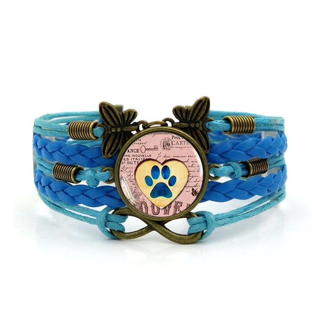 Vintage Wide Leather Dog Patterned Bracelet