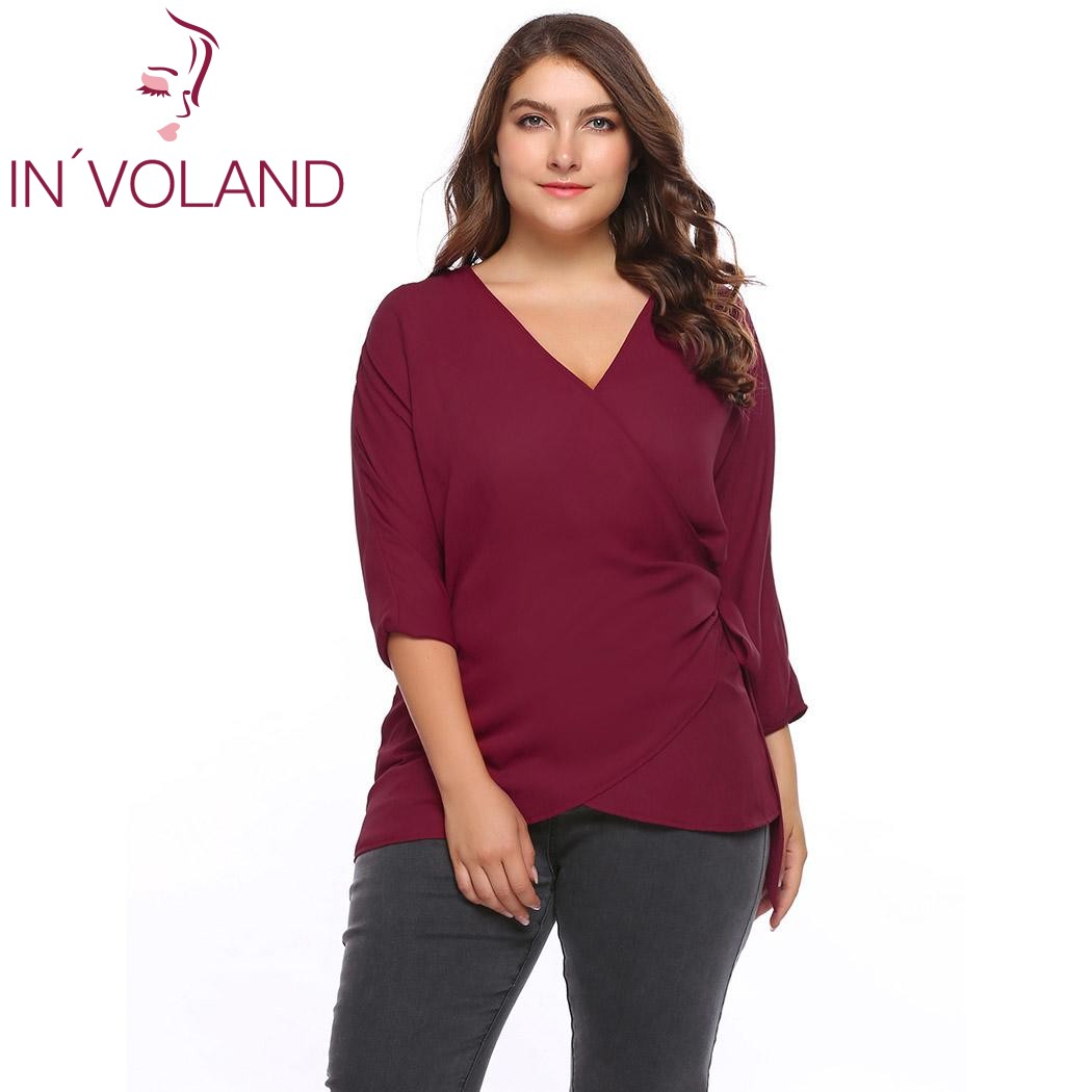 IN'VOLAND Plus Size Women Blouse Blusas Tops XL-5XL Casual Long Sleeve Large Solid Wrap Tie Chiffon Pullovers Shirt Big Size