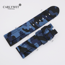 CARLYWET 24mm Wholesale Newest Camo Blue Waterproof Silicone Rubber Replacement Wrist Watch Band Strap Belt for Brand