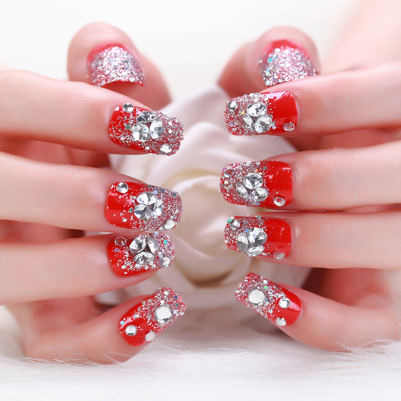 24pcsset Finished Fake Nail Glitter Wedding Shine Diamond