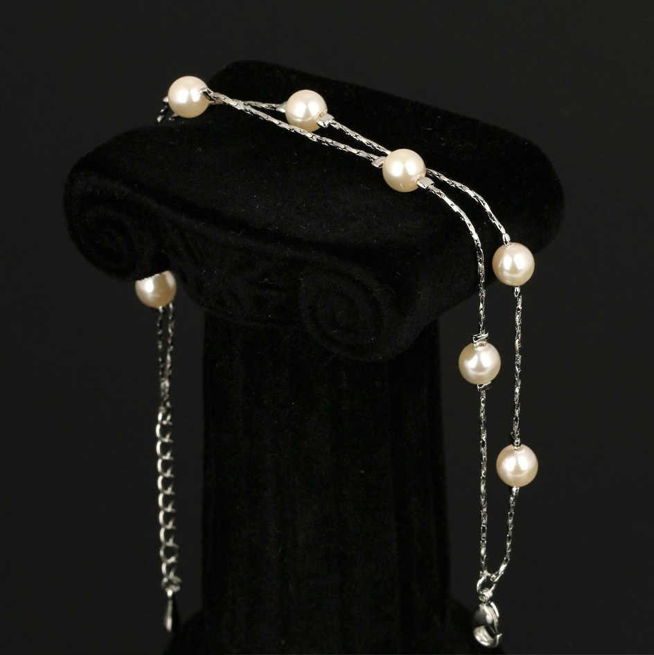 Прекрасное удвоенное Шарм Браслеты браслеты серебро/розовое золото Цвет Моделируемые бусинки жемчуга змея цепи свадебные украшения для Для женщин DFH169