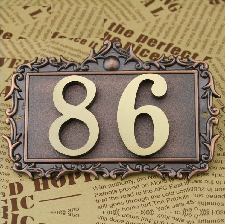 2 Digits bronze classical European Style Pure copper house Gate number card Villa apartment number four digits Free Shipping