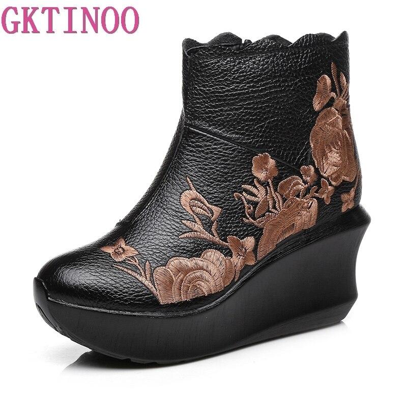 GKTINOO Bordar Artesanais Botas Para Mulheres Genuínas Sapatos De Couro No Tornozelo Mulheres Plataforma Do Vintage Sapatos Dos Pés Redondos Cunhas Botas