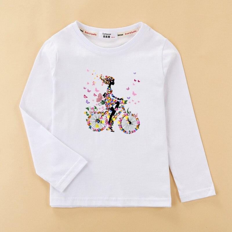 Girls funny t-shirt  flower-girl & fruit bike clothes child long sleeved tshirt 100% cotton tops tee baby girl 2