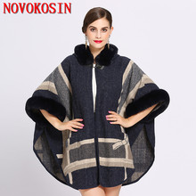 SC195 Winter Warm Thick Batwing Sleeves Coat 2018 Poncho Women Casual Loose Faux Fur Plus Size Hat Cardigan With Pocket