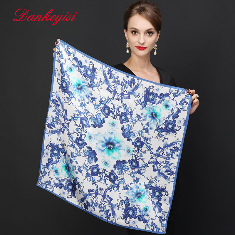 DANKEYISI Hot Sale Brand Flowers Pattern Silk   Scarves     Wraps   For Women Fashion Natural Pure Silk Shawl Square Silk   Scarf   2017