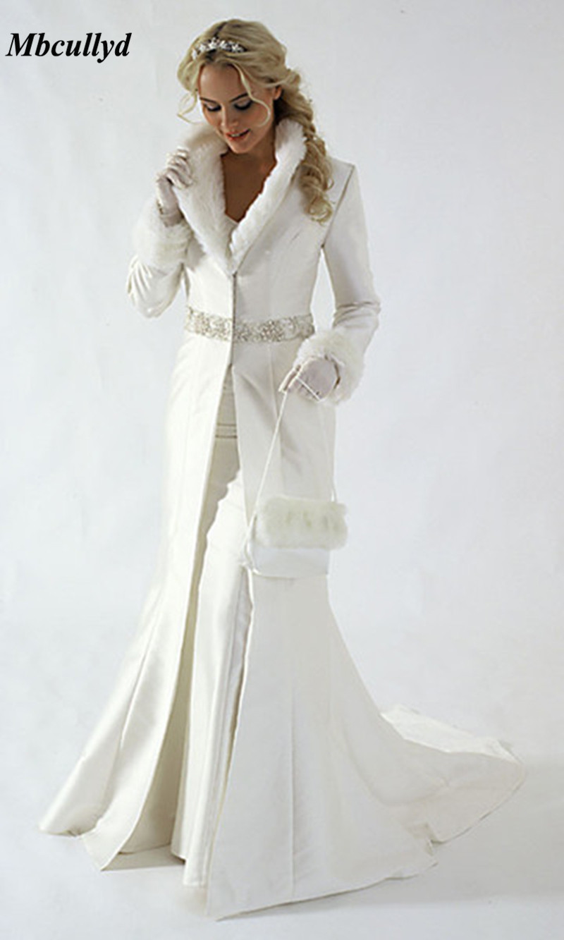 Floor Length Long Wedding Cloaks Jacket Satin Winter Bridal Bolero Cape Dress Coat Train Thick Fur Long Sleeve Shrugs For Women