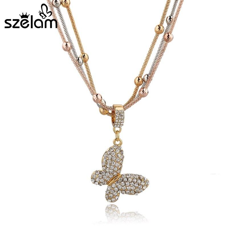 MELIHE New Fashion Design Gold Chain Necklace Luxury Austrian ...