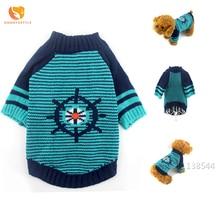 Зимний полосатый свитер для собак, теплый Круизный рулевой узор, Одежда для питомцев, костюмы для щенков и кошек, одежда для домашних животных для маленьких собак, плюшевый чихуахуа
