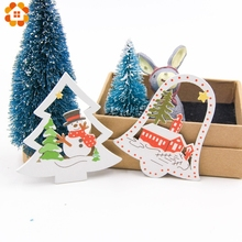 10PCS DIY Christmas Wooden Pendants Ornaments Colorful Multi Type Wood Crafts For Xmas Tree Christmas Party Hanging Decorations