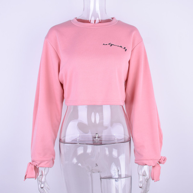 Fall / Winter Ladies Ins Embroidery Letter Loose Pullover 5