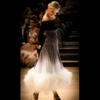 ballroom dance dress ballroom dance competition dresses gray gradient Modern Waltz Tango Dance Dress ostrich feather dress