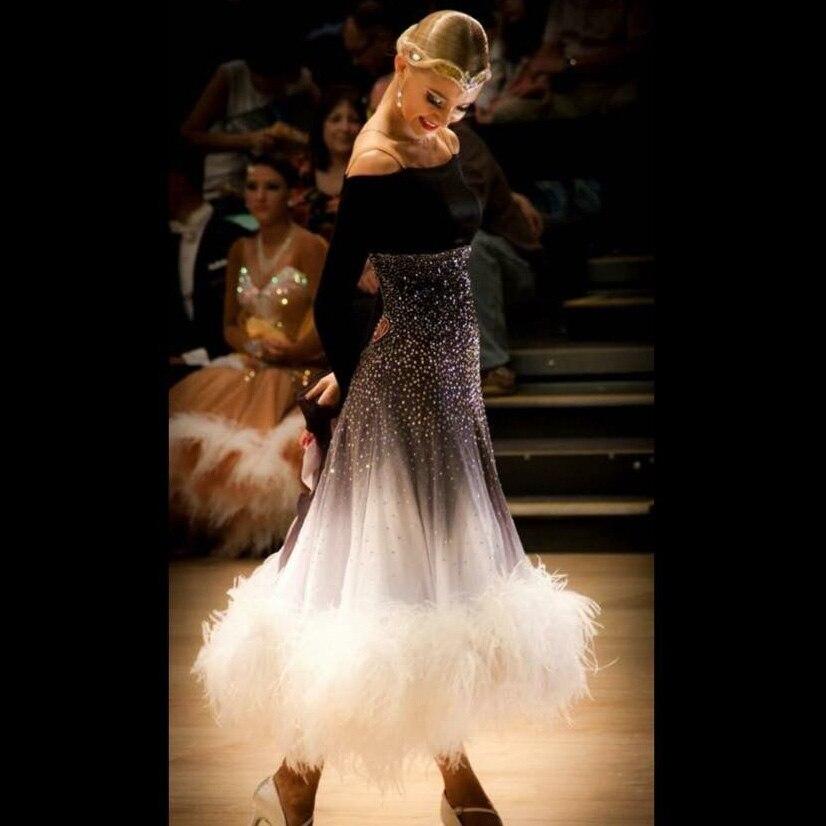 Robe de danse de salon salle de bal concours de danse robes gris gradient Moderne Valse Tango Robe De Danse plume d'autruche robe