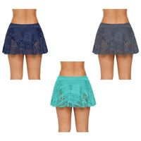Women High Waist Mini Pleated Swim Swing Skirt Hollow Out Crochet Floral Bikini Bottoms Solid Color Swimsuit With Brief Underlay