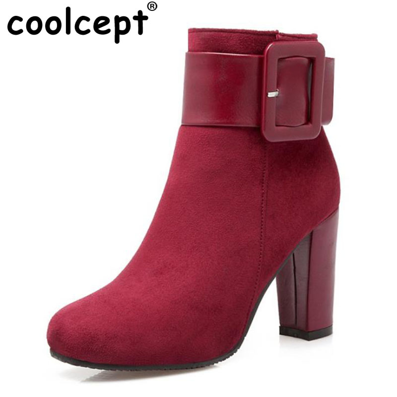 Coolcept Sexy Women Shoes Thick High Heel Buckle Knight Ankle Boots Zip Bootie Autumn Winter Ladies
