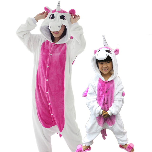 Unicorn pajamas one piece Family matching outfits Adult onesie Mother and daughter  clothes Totoro Dinosaur Unicorn Pyjamas women 0e653784d