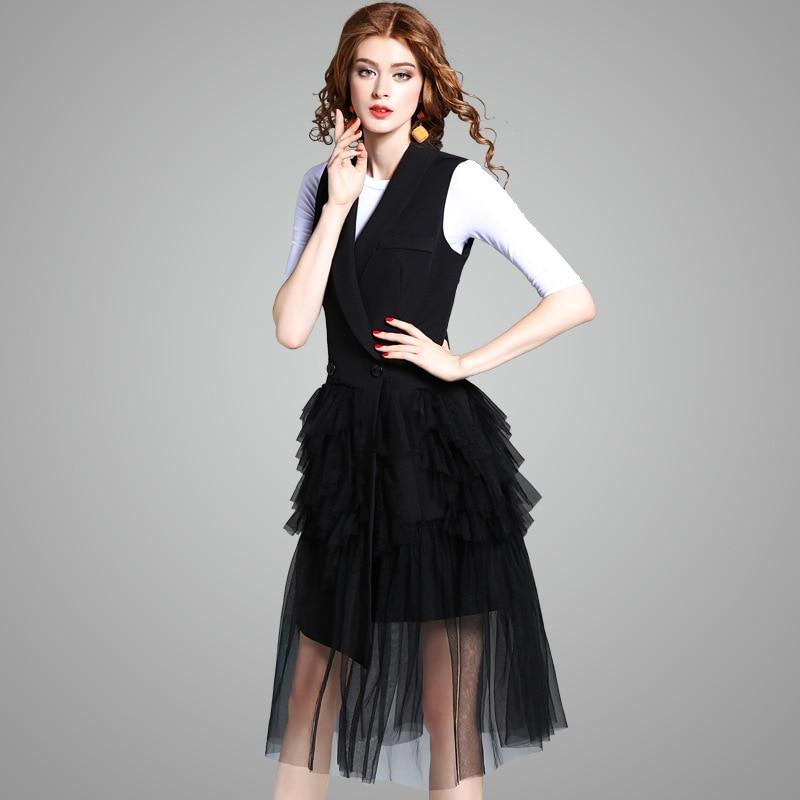Vest Women Long Sleeveless Cardigan Solid Irregular Design Patch Mesh Black Coat Casual Vest Elegant Style New Fashion 2018