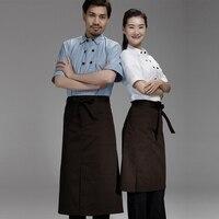 Chef avental vestido metade curto curto avental de cozinha café restaurante pendurado no pescoço de volta da cintura avental de trabalho
