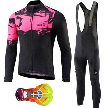 ca31c41a8c67 Morvelo ciclismo jersey 2019 pro equipo de manga larga ropa de bicicleta  conjunto de ropa de bicicleta bib pantalones maillot ropa ciclismo hombre  16D ...