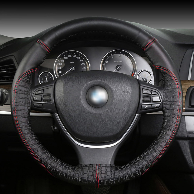 Car Steering Wheel Series Universal New Sports Hand Sched Non Slip Leather Cover Shape For 38 Cm