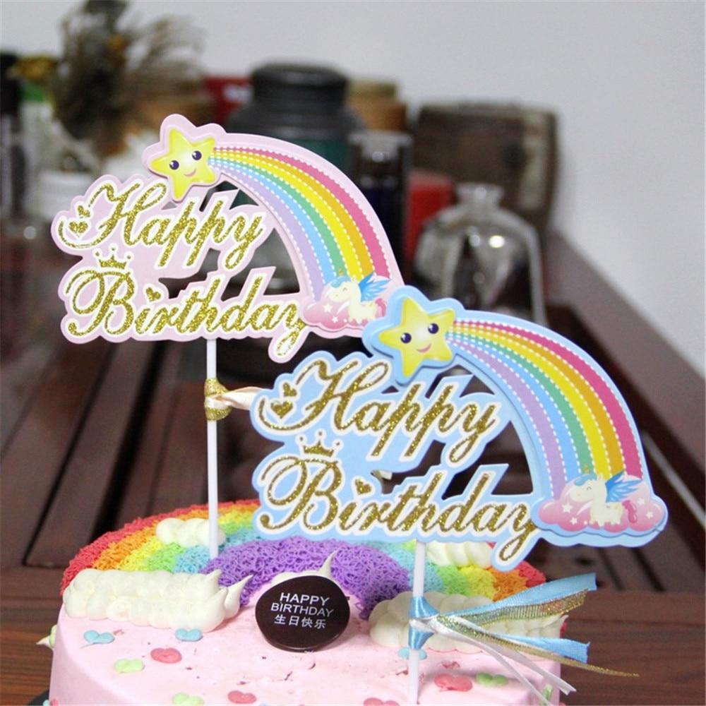 Crley Cute Rainbow Birthday Cake Topper Dessert Decoration