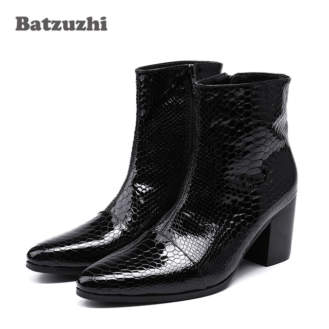 d068cf010 Batzuzhi 7CM High Heels Men Boots Pointed Toe Black Leather Boots Men  Handsome Ankle Boots for Men Wedding & Party, Size 38-46