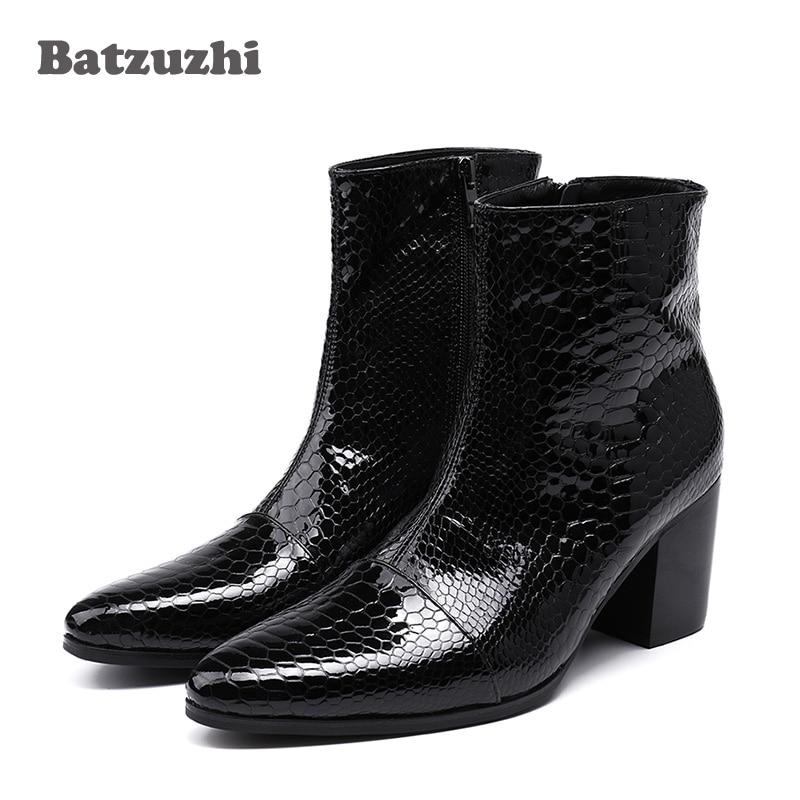 Batzuzhi 7CM High Heels Men Boots Pointed Toe Black Leather Boots Men Handsome Ankle Boots for Men Wedding & Party, Size 38 46