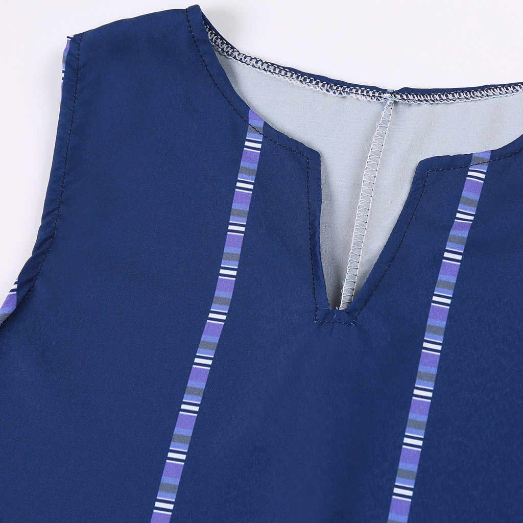 Robe Maxi femmes grande taille nouvelle robe MAXIORILL летнее платье Vintage Col V d'été bohème plage T-shirt Sans Manches robe #3