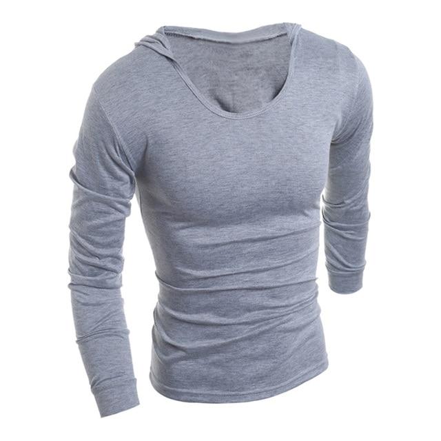 Mens Fashion Long sleeve hoodie T Shirt Men T-Shirt Tops Casual Slim Fit Hip hop Men Dress Tee Funny Shirt Male