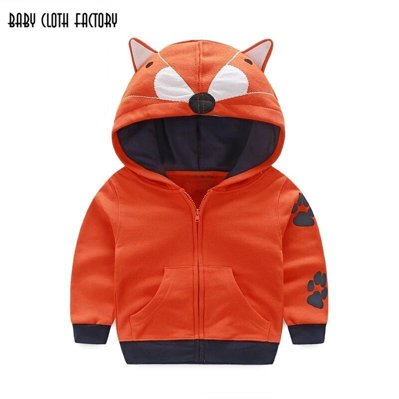 2016 winter sports boys clothing children's coats cute animal design zipper hooded jacket boys outwear sweatshirts kids clothes