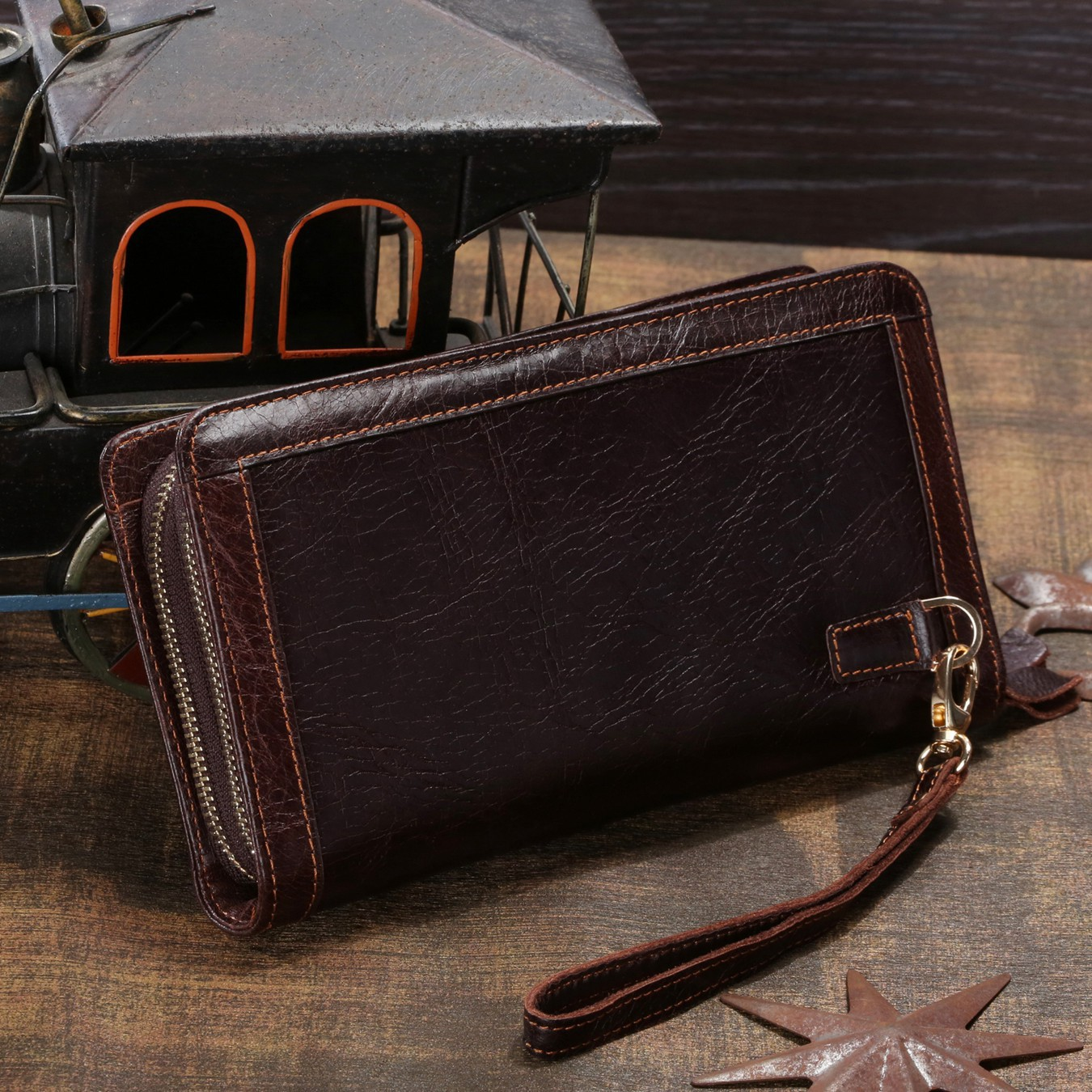 ФОТО The High-end genuine Leather Wristlet Wallet Card Package Double Zipper Design men Wallet With Coin Bag 8023