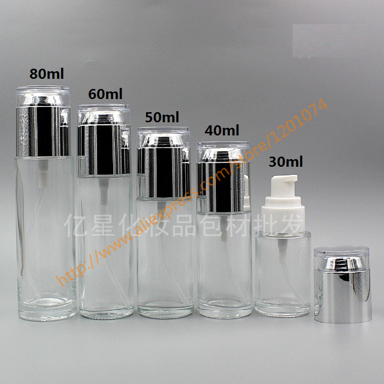 30ml40ml50ml clear Bottle With shiny silver acrylic lotion pump,for lotionessential oilliquid cream,cosmetic glass bottle