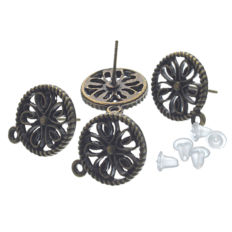 MJARTORIA 100PCs Bronze Tone Earring Post W/ Stoppers & Loop For Jewelry Making Supplies Earrings Personality DIY Crafts 17x13mm