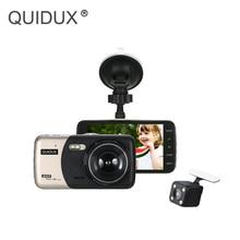Dash cam Car DVR Dual Lens 4 Pollici Videocamera per auto Full HD 1080 P Monitor di Parcheggio WDR Visione Notturna Retrovisore Video registratore della Macchina Fotografica del Precipitare