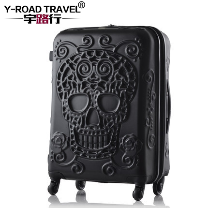 20'24'28' Skull Pattern Rolling Luggage Spinner Travel Suitcase Luggage Women Boarding Box Trolley Suitcases Trunk стоимость