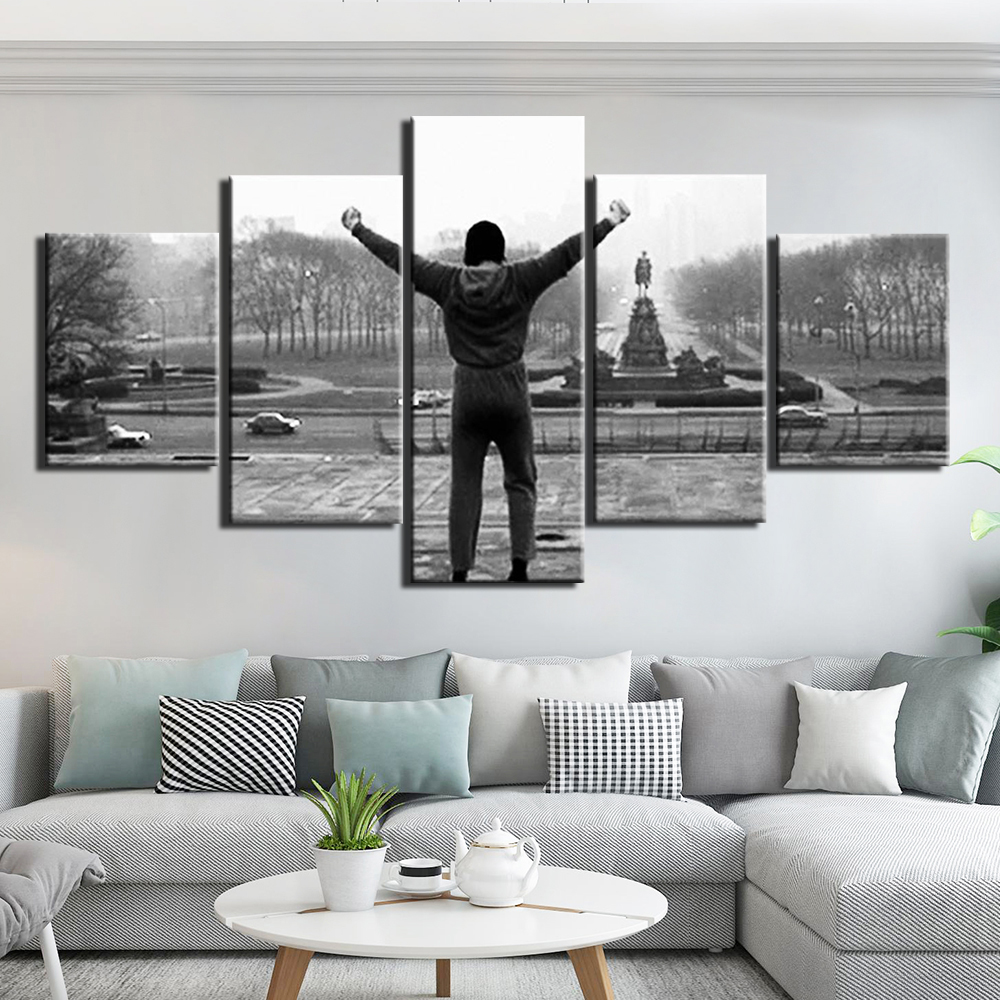 5 Panel rocky Inspirational quotes  Painting Canvas HD balboa print Wall Art piece movie poster