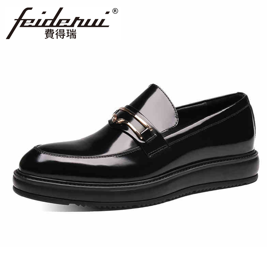 Hot Sale Patent Leather Mens Flat Platform Loafers Round Toe Slip on Height Increasing Handmade Man Office Casual Shoes YMX328Hot Sale Patent Leather Mens Flat Platform Loafers Round Toe Slip on Height Increasing Handmade Man Office Casual Shoes YMX328