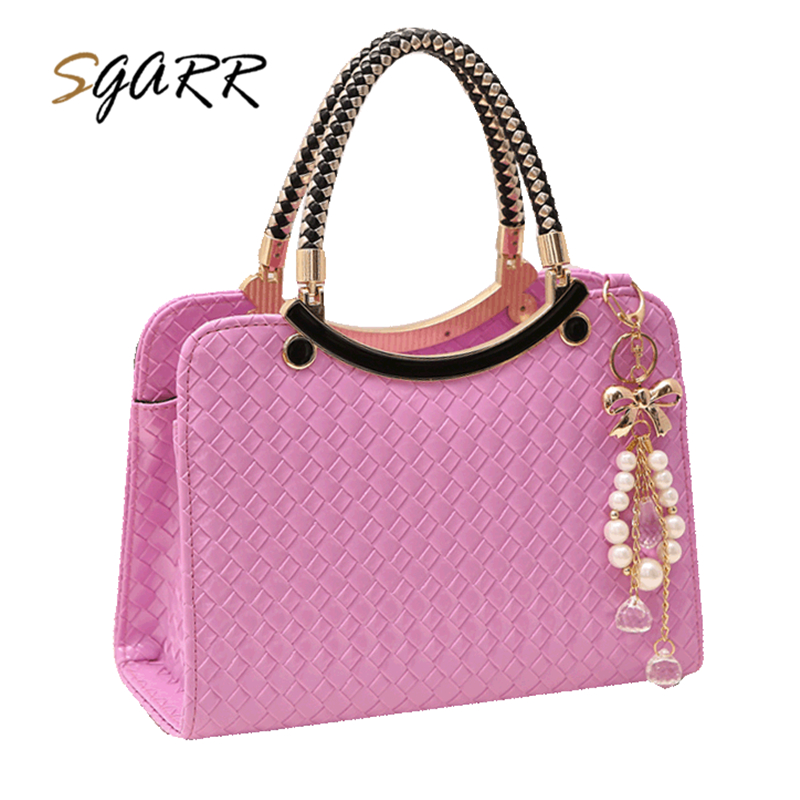SGARR Bag Female Women Leather Handbags Famous Brands Knitting Pink Black Shoulder Bag Ladies Cheap Quality Messenger Bags Sale famous brands handmade women shoulder bags fashion high quality designer black leather handbags ladies knitting messenger bag b