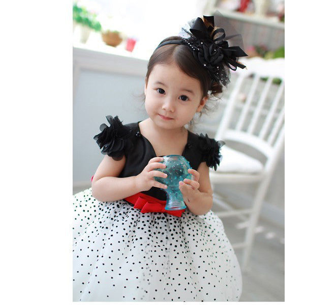 54400baf09fd Xmas Clothes Baby Girls Kids Starry Sky Polka Dot Party Fluffy ...