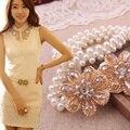 2016 Verão Nova Moda Elegante Das Mulheres Preto Branco Pérola Flor De Cristal Elástica Cinto Vestido Fino, o Trecho Feminino Compoteira