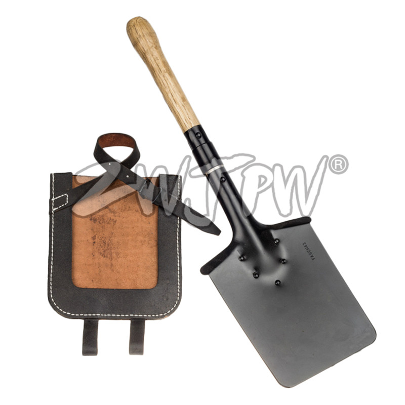 WW2 Square Spad Military Shovel With Leather Cover Survival Tool  Household Gardening Outdoor Camping Shovel DE/106102 portable outdoor stainless steel gardening shovel tool black yellow