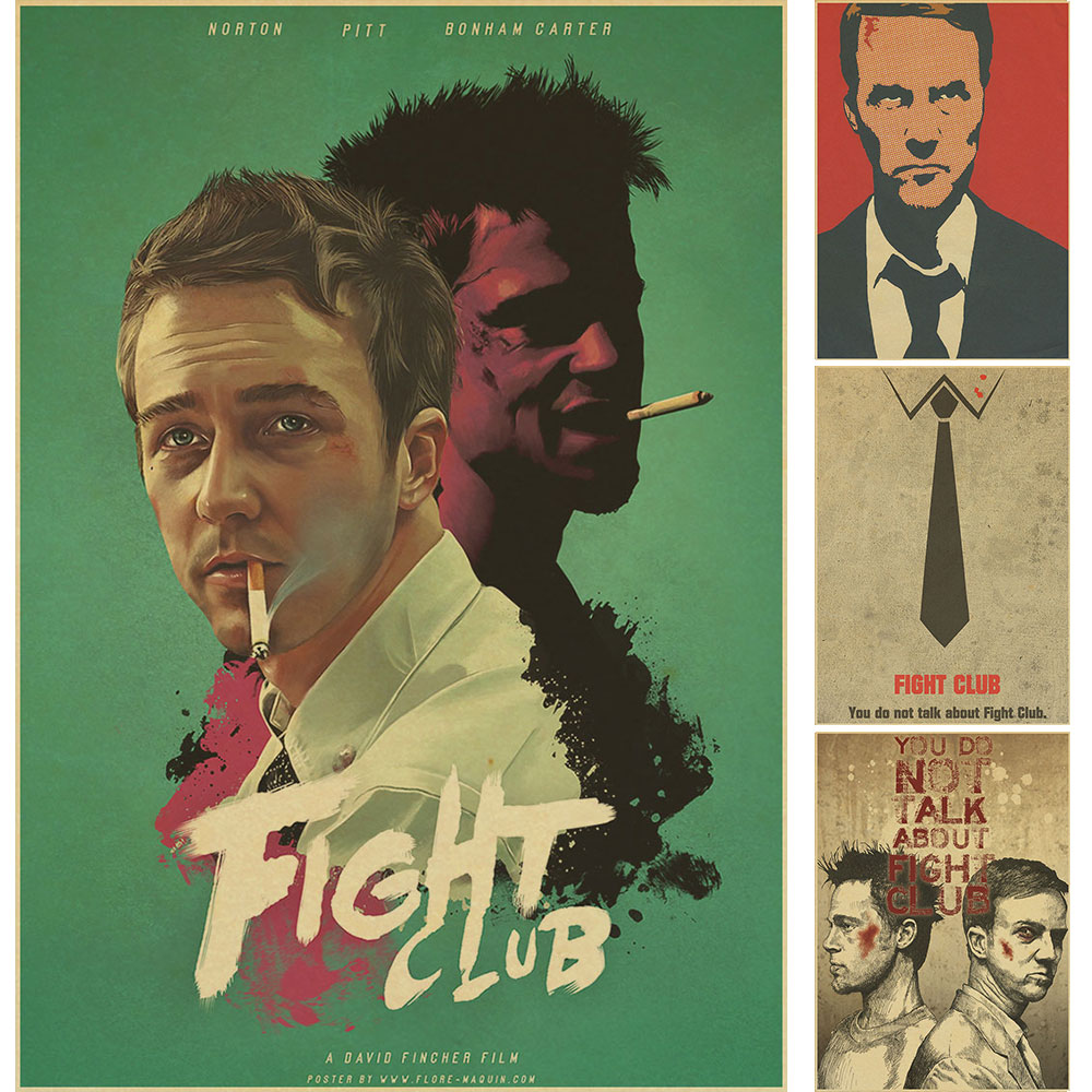 Decoración Vintage club de la Lucha Brad Pitt Poster Papel Retro cartel cafeterí