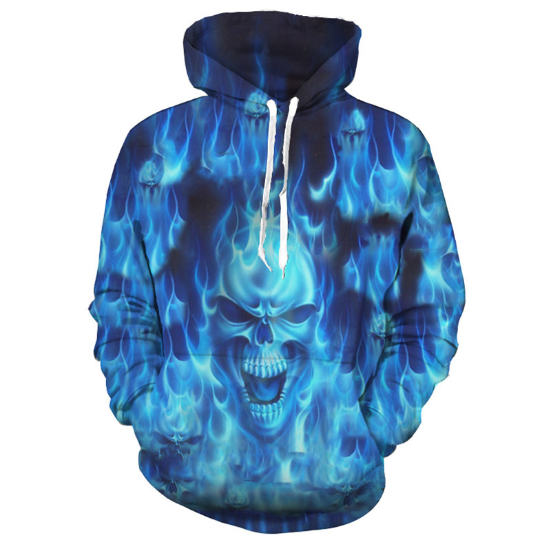 2018 3D Hoodies Men Hoody Sweatshirts Melted Skull 3D Print Fashion Casual Pullovers Streetwear Tops Spring