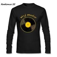 T Shirt Uomo DJ di Musica Della Stampa di Modo Del Vinile Maestro Shirts Nuovo Disegno Manica Lunga T-Shirt Adulto Più Il Formato