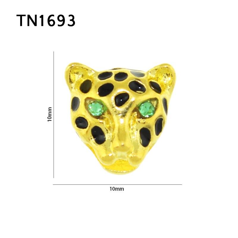 10 Stkspartij 3d Charms Groene Steentjes Ogen Insert Cheetah Hoofd
