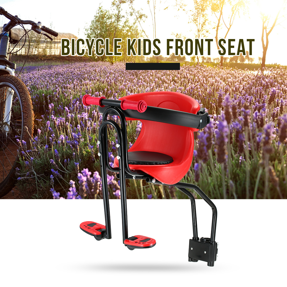 Bicycle Baby Seat Kids Child Safety Carrier Front Seat Saddle Cushion with Back Rest Foot Pedals