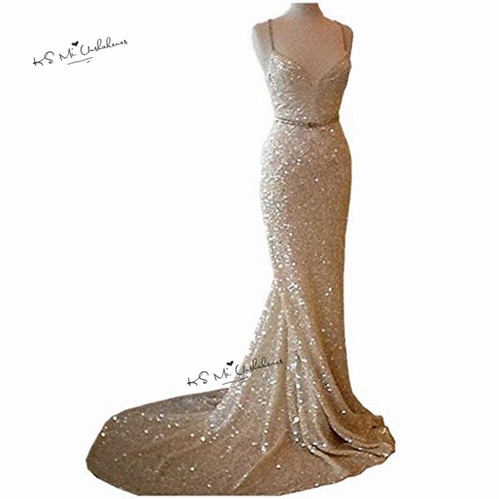 Champagne or paillettes sirène robes de soirée longue 2018 Sparky balayage Train Sexy bal Robe de soirée robes Robe de soirée Courte